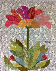 Phoebe Flower Collage Applique Quilt Pattern by Laura Heine from Fiberworks Inc. Pho, Flower Applique Patterns, Laura Heine, History Of Quilting, Art Quilting, Quilting Ideas, Flower Collage, Flower Quilts, Landscape Quilts