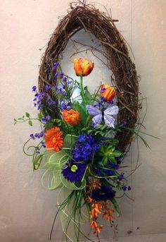 Wreath Crafts, Diy Wreath, Grapevine Wreath, Easter Wreaths, Holiday Wreaths, Summer Wreath, Spring Wreaths, Deco Mesh Wreaths, Floral Wreaths