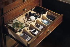 top trends 2014: gadget storage and charging station  I think I finally found a solution for all the electronics in this house