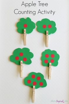 Apple theme counting activity for preschoolers. A fine motor apple tree activity for learning numbers. #mathforpreschoolers