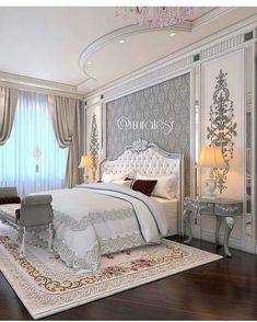 Use the outline not the actual design. Place the peacock over the headboard and do the rest of the room white/soft cream/gray. Bedroom False Ceiling Design, Luxury Bedroom Design, Master Bedroom Design, Home Decor Bedroom, Luxury Interior, Elegant Home Decor, Elegant Homes, Bed Design, Design Case