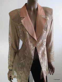 COTY Vintage Open Weave Jacket Size M ~ BEAUTIFUL~  Rose/Gold Chantilly Lace USA #Coty #Blazer