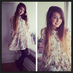 Zoe in a floral shirt dress