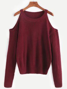 Pull tricoté épaules ouvertes - bordeaux