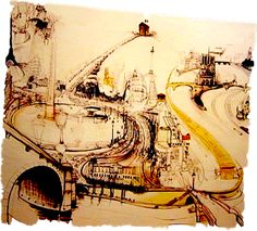 #67 213cm x 244cms Charcoal, oil, in, pencil and collage on canvas (Brett Whiteley, 1989)