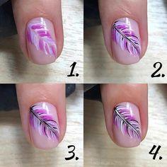 Nail Art Plume, Feather Nail Art, Acrylic Nail Tips, Gel Nail Art, Fall Nail Art Designs, Simple Nail Designs, Subtle Nail Art, Gel Nagel Design, Pretty Nail Art