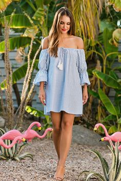 Edie Striped Off the Shoulder Tassel Dress Fashionista Trends, Beach Dresses, Cute Dresses, Summer Dresses, Holiday Dresses, Beauty And Fashion, Fashion Mode, Casual Dresses For Women, Casual Outfits