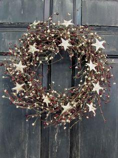 Primitive Christmas Star & Pip Berry Wreath - Winter Decor - Christmas Wreath picclick.com