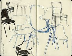 chairs by Erika Bird - reminder to sketch everything. This is also an interesting blog to explore.