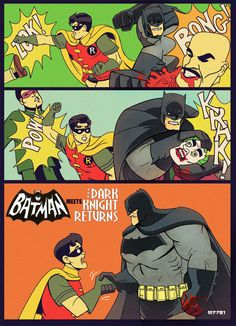 """If Frank Millers' version of #Batman from """"The Dark Knight Returns"""" replaced Adam West...lol. LOVE it. /// by deviant art artist m7781"""