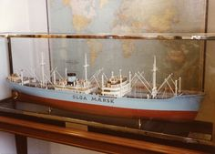 Scale model of Olga Mærsk (1949) as seen in Mr. A.P. Moller's office.