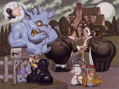 Pop surrealism of Todd Schorr Art Bizarre, Weird Art, Arte Lowbrow, Designer Couch, The Pilgrim's Progress, Arte Horror, Horror Art, Amazing Drawings, Animated Cartoons
