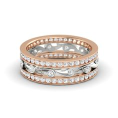 14K Rose Gold Ring with White Sapphire   Sea Spray Band   Gemvara