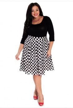 rok, Loretta, Lady Plus Fashion, wit met zwarte stippen