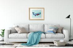 Whale art Whale art decor Blue whale wall art Whale by ShortyLife