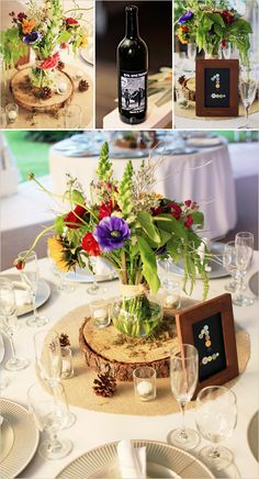 Love this table setting - rustic meets vibrant blooms...brilliant.
