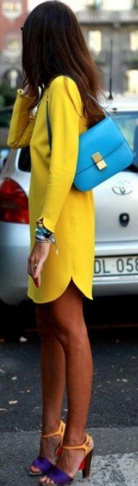 vestido amarillo combinado con colores