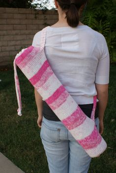 Items similar to Yoga Mat Bag Tote Pink Stripes Knit Breast Cancer Donation on Etsy Yoga Mat Bag, Striped Knit, Pink Stripes, Mom And Dad, Artsy Fartsy, Aunt, Crocheting, Knit Crochet, Cancer