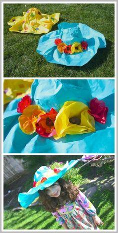 Spring Crafts for Kids: Paper Mache Spring Hat~ Buggy and Buddy. Una pamela de papel para niñas coquetas.