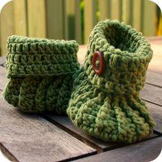 Green button crochet booties by coffee n crochet, via Flickr