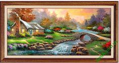 Tranh phong cảnh đẹp in giả sơn dầu trang trí phòng khách