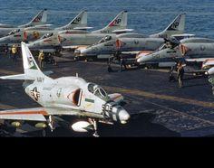 Life on a carrier for A-4 Skyhawks.