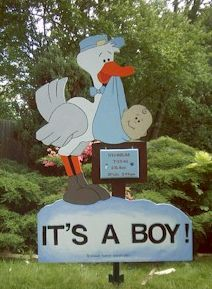 Boy Stork 7 foot sign