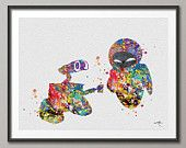 Wall-E and Eve Love Movie Watercolor Art Print Wall Art Poster Giclee Wall Decor Art Home Decor Wall Hanging [NO 176]