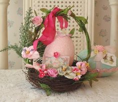 the prettiest basket with a pink egg
