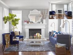 HGTV Sabrina Soto-Blue furniture, floor lamps, green plant, and area rug.