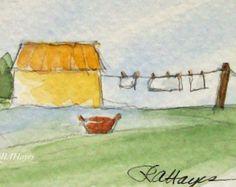Día de lavandería en el país acuarela ACEO granja por RoseAnnHayes