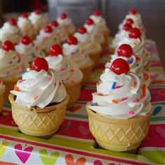 "Cream Cone Treats Ice Cream Cone Treats I ""These are super cute and extremely easy to make. Kids love them. Nice for a birthday party.""Ice Cream Cone Treats I ""These are super cute and extremely easy to make. Kids love them. Nice for a birthday party. Frosting Recipes, Cupcake Recipes, Dessert Recipes, Desserts, Ice Cream Cupcakes, Ice Cream Party, Icecream Cone Cupcakes, Party Cupcakes, Ice Cream Cone Cake"