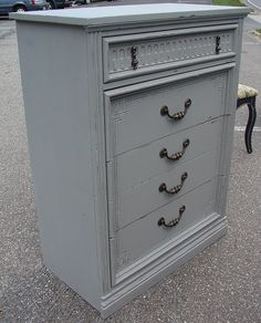 SALE Vintage Reclaimed Upcycled Colonial Paint Gray Bedroom 5 Dr Chest of Drawers Dresser (Call for ship Quote). $225.00, via Etsy.