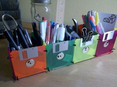 Post with 0 votes and 172 views. A desk organizer for my art classroom! Vhs Crafts, Green Living Tips, Reduce Reuse Recycle, Floppy Disk, Desk Organization, Classroom Organization, Organizing Your Home, Diy Arts And Crafts, Art Classroom