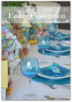 Are you decorating your table for an Easter celebration? This beautiful tablescape is a fantasy-land of bunnies, birdhouses, chicks and more.