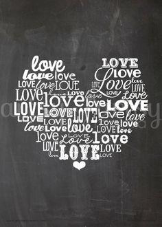 artsy-fartsy mama: Free Printable Love Word Art#Loveheart #diy #heartclock @artsyfartsymama