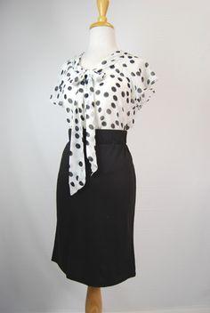 Polka Dot Secretary Vintage Blouse