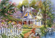 Plaid Paint by Number 16 in. x 20 in. Kit Victorian Cottage Paint by Number Victorian Gardens, Victorian Cottage, Victorian Homes, Plaid Paint By Number, Paint By Number Kits, Water Based Acrylic Paint, Teresa, Thomas Kinkade, Classic Paintings