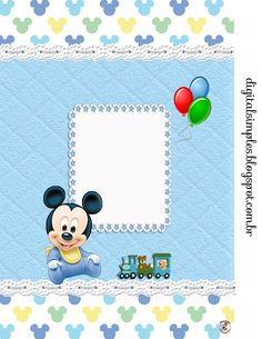 "Kit Personalizados ""Mickey Mouse Baby"" para Imprimir - Convites Digitais Simples Festa Mickey Baby, Mickey Mouse Baby Shower, Minnie Baby, Mickey Mouse Birthday, Minnie Mouse, Scrapbook Bebe, Disney Cards, Printable Crafts, Baby Party"