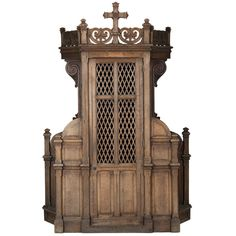Huge Oak Church Confessional, 19th Century   From a unique collection of antique and modern religious items at https://www.1stdibs.com/furniture/more-furniture-collectibles/religious-items/
