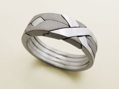 SOLID MATTE - Unique Puzzle Rings by PuzzleRingMaker - Sterling Silver - 4 Band