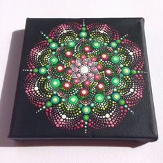 Original Dotart Green Pink Mandala Painting on by CreateAndCherish