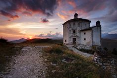 #GranSasso #National #Park #Sunset #Church #Catholic #Octagonal #Mountain #Travel #Italy #Abruzzo