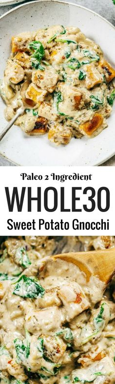 This is the most delicious! 2 Ingredient Paleo Sweet Potato Gnocchi in Spinach Cream Sauce. This recipe can be made ahead and frozen.