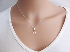 Star of David Necklace Silver Necklace Magen David by KRcollection, $28.00