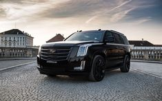 Download wallpapers Cadillac Escalade Black Edition, 4k, 2018 cars, GeigerCars, tuning, Cadillac Escalade, SUVs, Cadillac, black Escalade