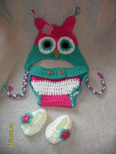 Crocheted Baby OWL set Earflap booties and diaper by MadebyMily, $20.00
