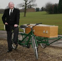 UK's only tandem bicycle hearse up for sale...