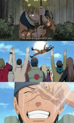 He never knew parental love, text, sad, Naruto, Iruka, quote, comic, crying, different ages, time lapse, young, childhood; Naruto