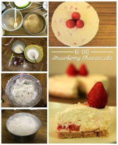 No-Bake Strawberry Cheesecake  Recipe inspired by http://www.epicurious.com/recipes/food/views/no-bake-strawberry-cheesecake-354029